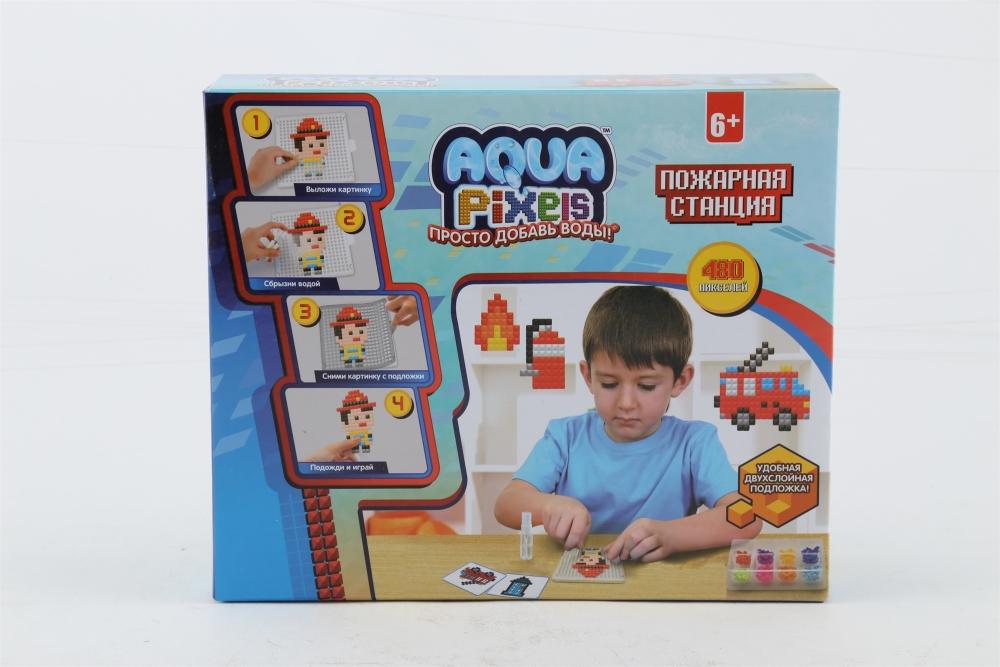 1toy Aqua Pixels, квадрат. детали, 480 дет Пожарная станция