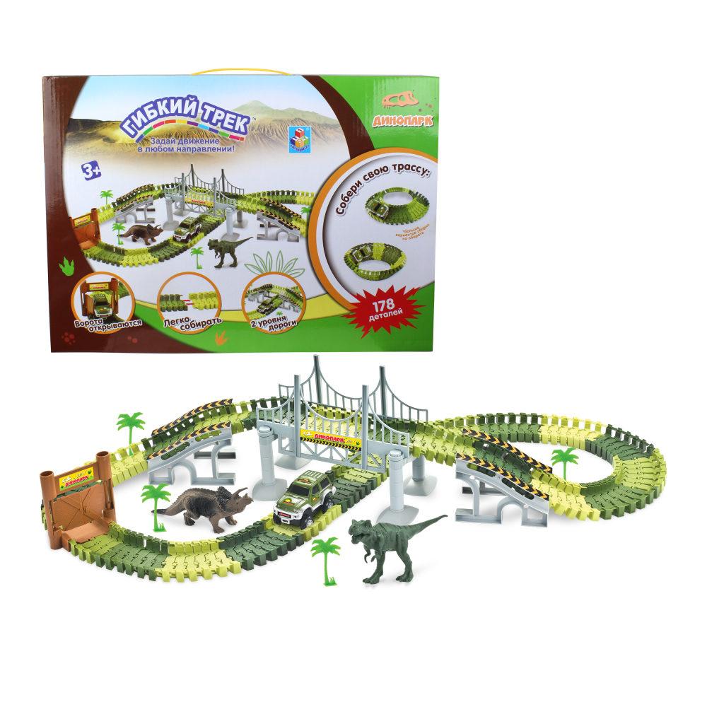 1toy гибкий трек Динопарк, мост, ворота, 1 машинка, 178 дет