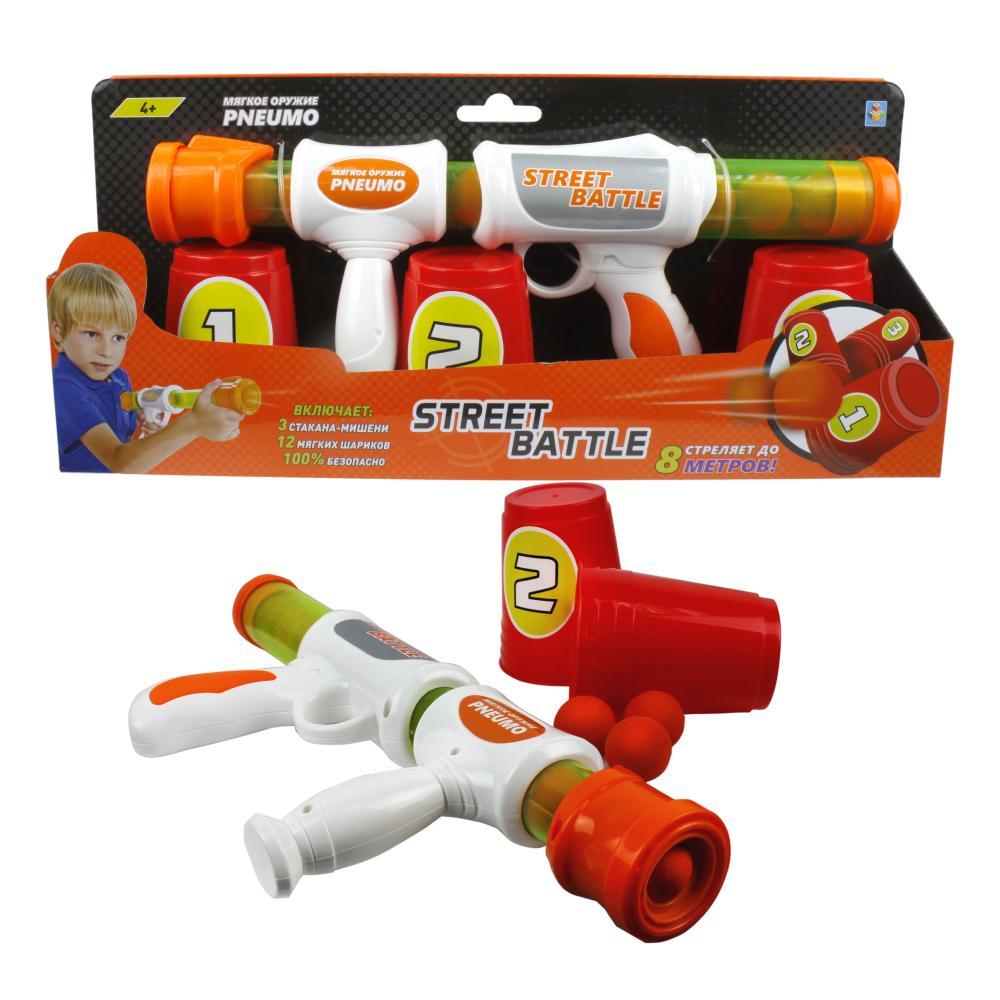 1toy Street Battle игр оружие с мягкими шариками (в компл. 3 мишени, 12 шар. 2,8 см), короб.
