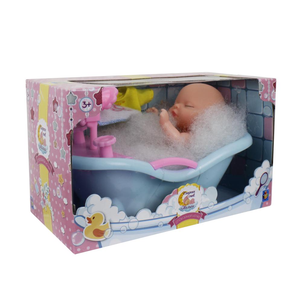 1 toy пупсик в ванной с одеждой и акс, прозрачн. коробка