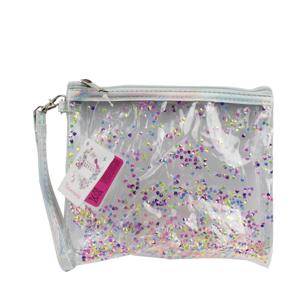 Lukky косметичка на молнии с пайетками-кристалликами 19х15 см,пакет,бирка