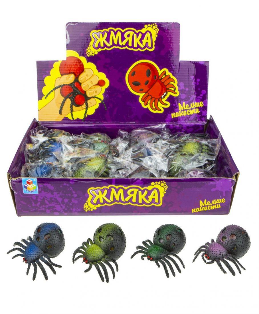 1toy Мелкие пакости, жмяка паук с шариками 8 см,12 шт д/бокс