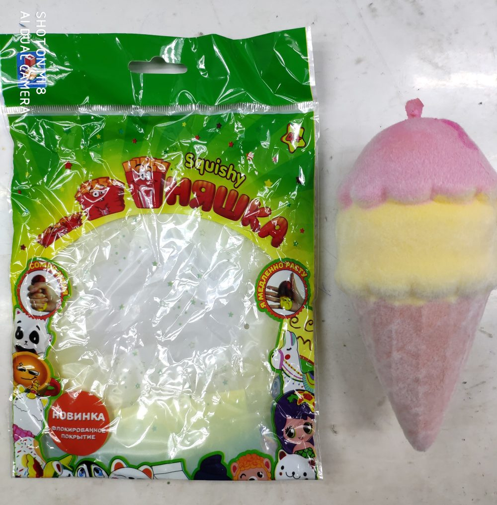 1toy игрушка-антистресс мммняшка флок squishy (сквиши) мороженое рожок, 52гр, 16х7см