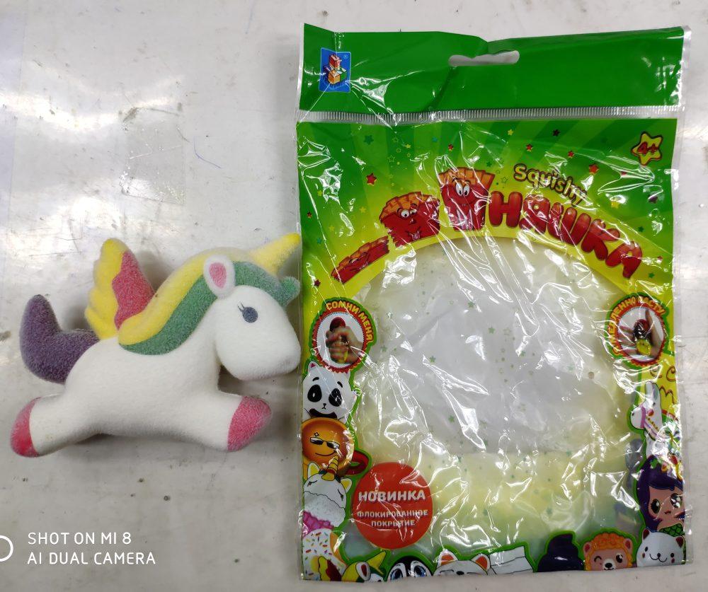 1toy игрушка-антистресс мммняшка флок squishy (сквиши) единорог, 36гр, 10х8см