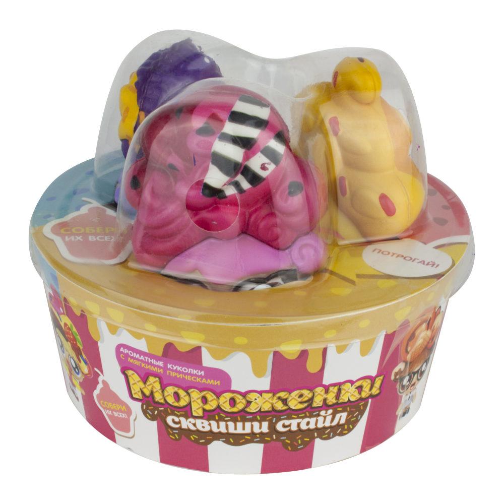 1toy Мороженки сквиши стайл, куколки с мягкими прическами, ароматизированные, набор 3 шт, баскет