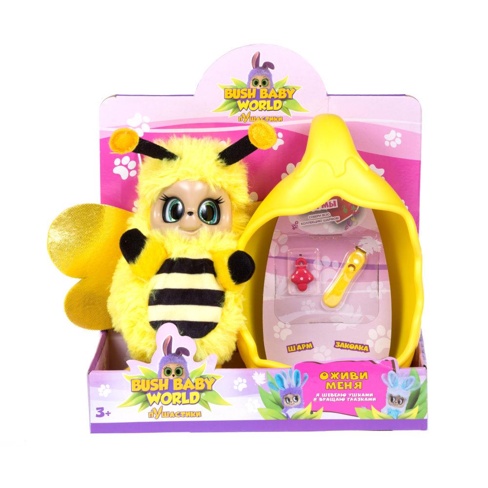 Bush baby world, плюш, 20 см, шевелит усиками, вращает глазками, со спальным коконом, заколкой и шармом пчелка Бри , размер кор. 20*23*9 см