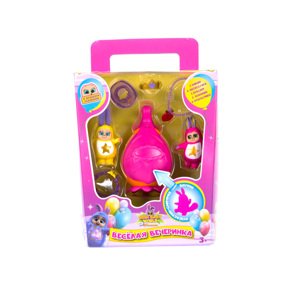 Bush baby world, игровой набор Пушастик mini Вечеринка (карнавал), в наборе: пушастик-3 шт, аксессуары -3 шт, браслет-1 шт, подвеска -1 шт, кокон-1 ш