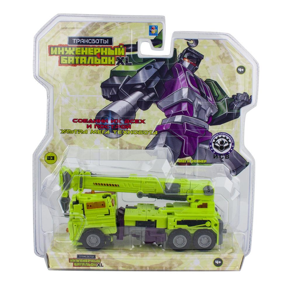 1toy Трансботы Инженерный батальон XL: Мега Кранер (блистер, из 6 шт. собирается большой робот)