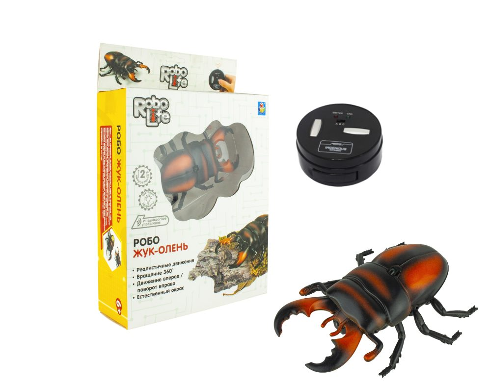 1 toy Игрушка Робо-Жук-Олень (красный) на ИК Управлении, с зарядкой от пульта, пульт работает от 3*АА бат.(в компл не входят),27*17,5*6см