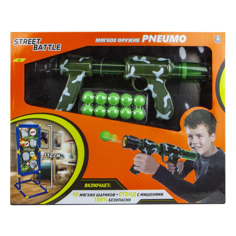 1toy Street Battle игр оружие с мягкими шариками (в компл. Стенд с мишенями, 10 шар. 2,8 см), коробка