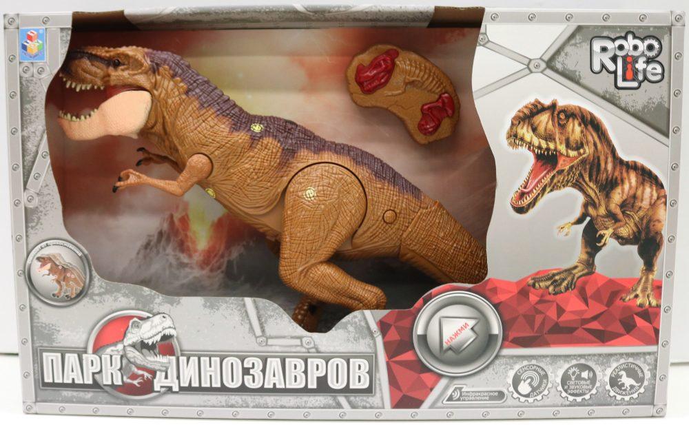 1toy, игрушка интерактивный Динозавр (3*АА входят в компл) ИК пульт (2*АА не входят в компл), сенсоры на теле, свет и звук, коробка 49х30х12 см