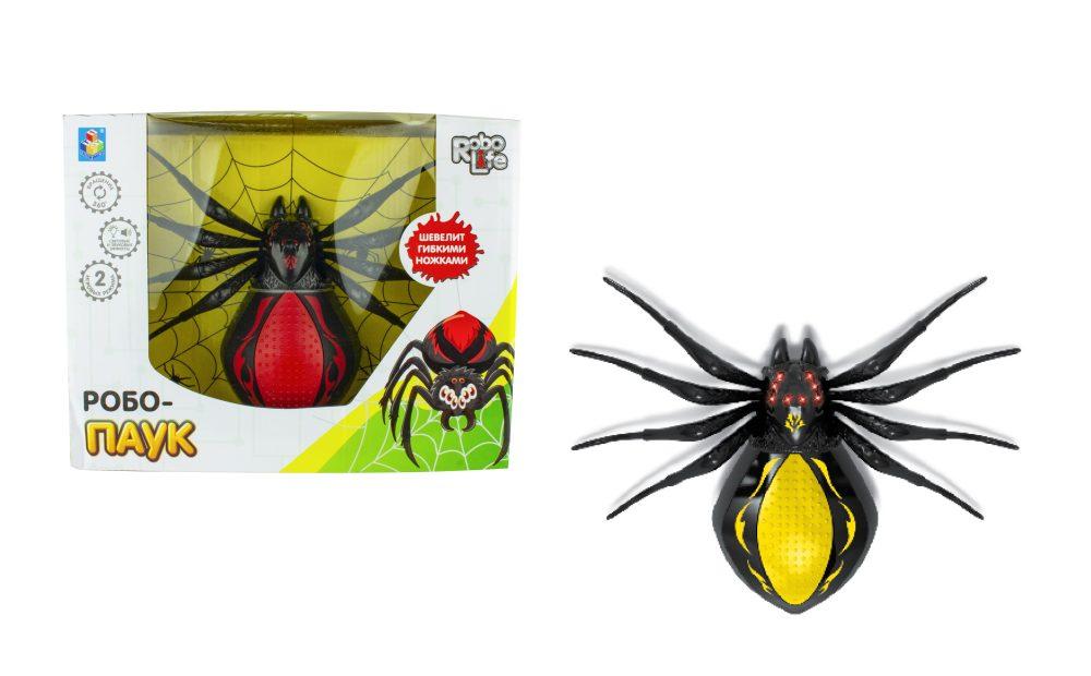 1toy игрушка Робо-паук (свет, звук, движение), коробка 30*23*10 см, 3 *1,5 В АА (в комп не вход), чер-желтый