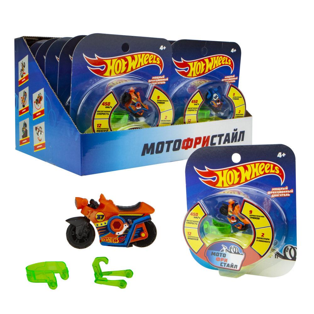 Hot Wheels Мотофристайл (в компл.: инерц. мотобайк, 2 аксессуара для трюков, блистер, 12 видов в асс.)