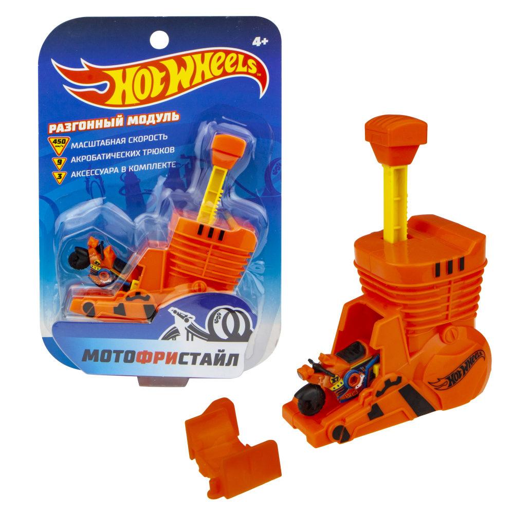 Hot Wheels Мотофристайл (в компл.: инерц. мотобайк, турбо ускоритель, коннектор, 1 аксессуар для трюков)