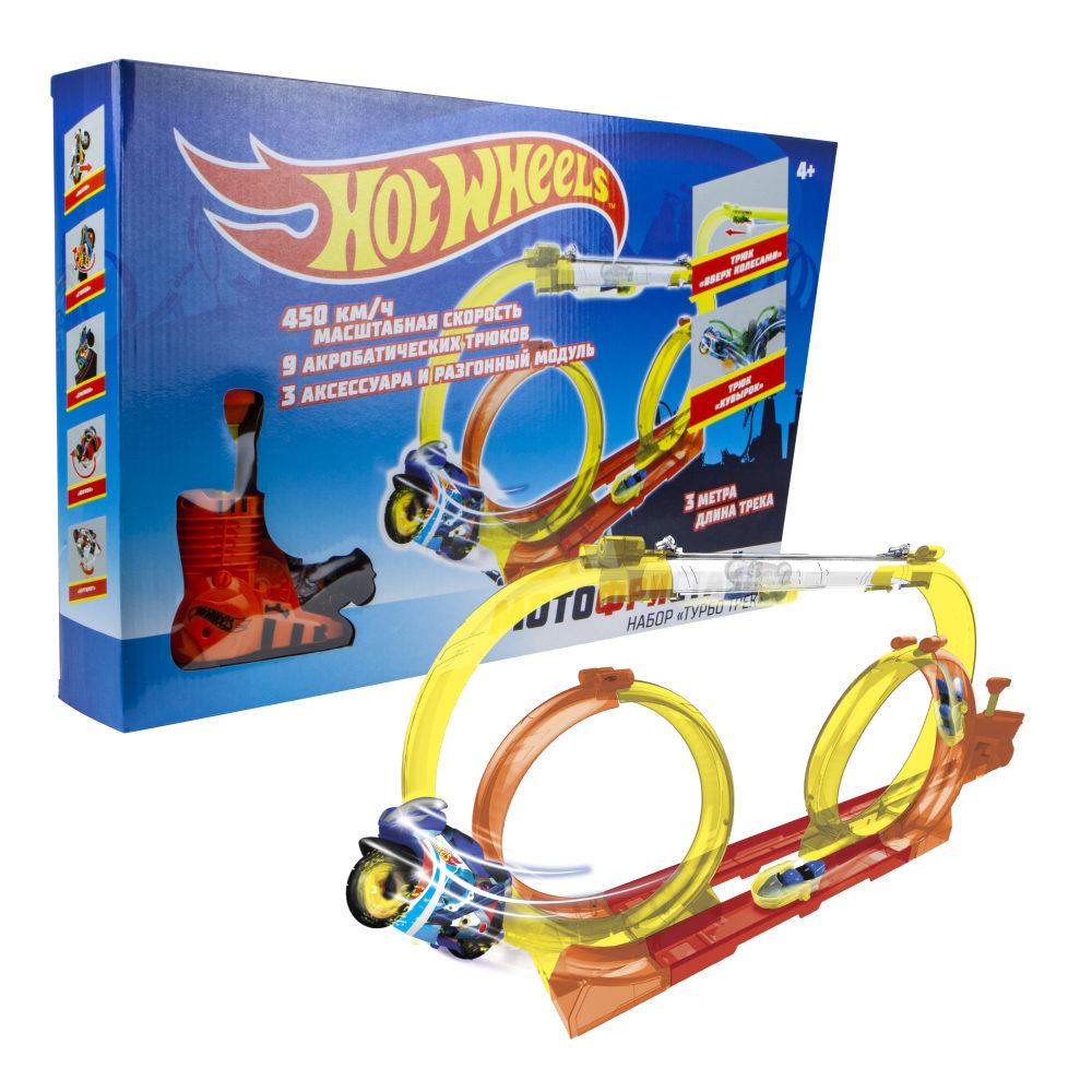 Hot Wheels Мотофристайл (в компл.: инерц. мотобайк, турбо ускоритель, 15 деталей трека, 1 аксессуар для трюков)