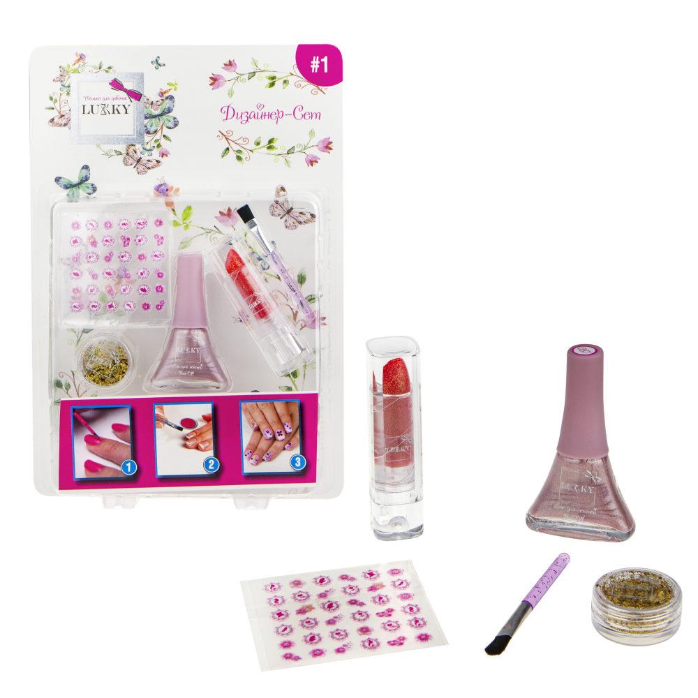 Lukky Дизайнер-Сет #1 д.диз.ногтей с лаком №087 5,5 мл,стик для ногтей, кисточкой, красн.помадой с блестками,золот.блестками в бан., блист.