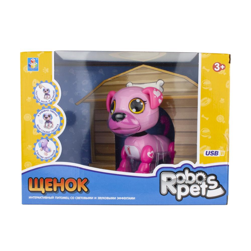 1 toy, интерактивная игрушка Робо-щенок розовый, свет,звук, движение, USB зарядка, коробка с окном 26х19х12 см