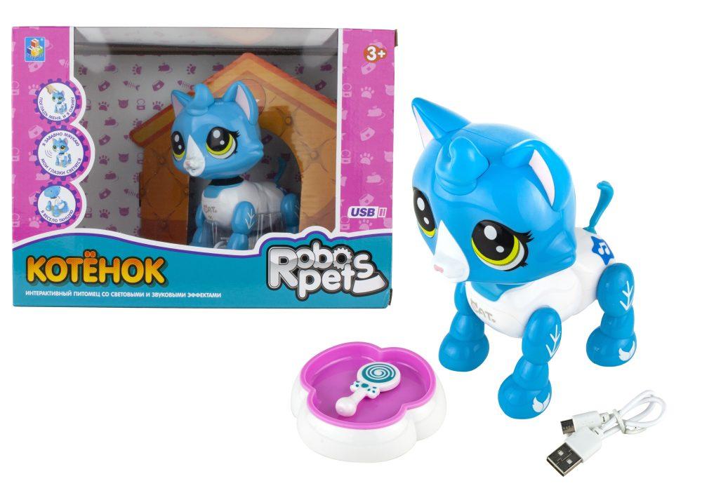 1 toy, интерактивная игрушка Робо-котенок бело-голубой, свет,звук, движение, USB зарядка, коробка с окном 26х19х12 см