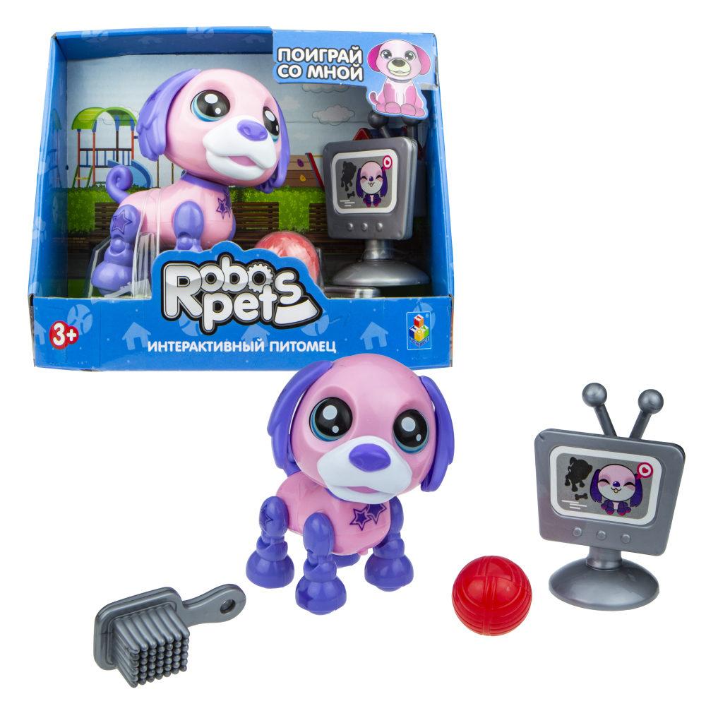 1 toy, игрушка со звук.эффектами Озорной щенок розово-фиолетовый, 3 бат LR44 в компл.