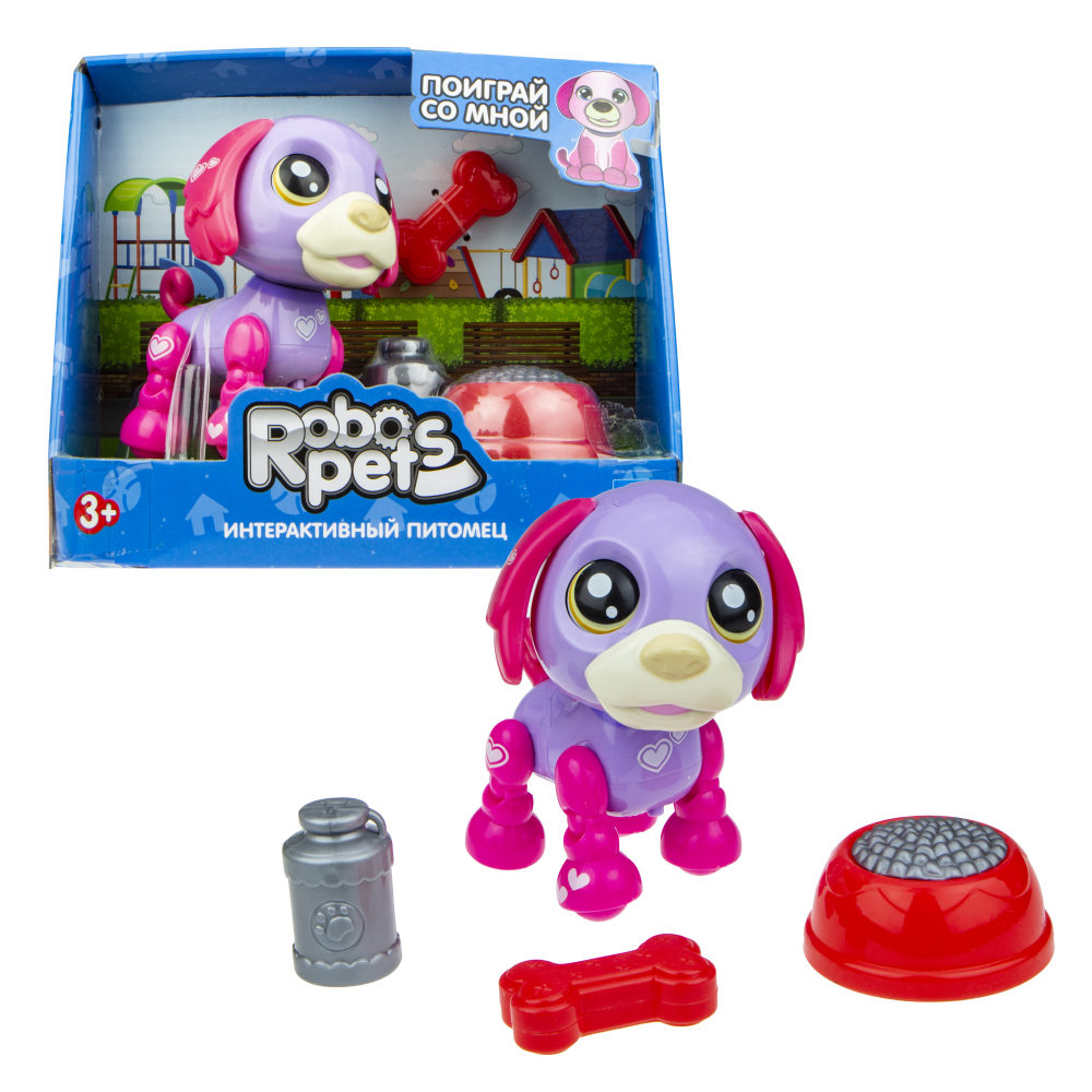 1 toy, игрушка со звук.эффектами Озорной щенок фиолетово-фукс, 3 бат LR44 в компл.