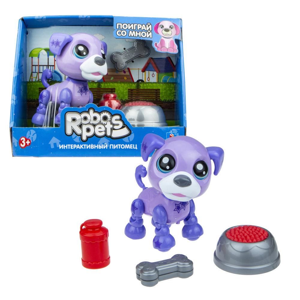 1 toy, игрушка со звук.эффектами Озорной щенок фиолетовый, 3 бат LR44 в компл.
