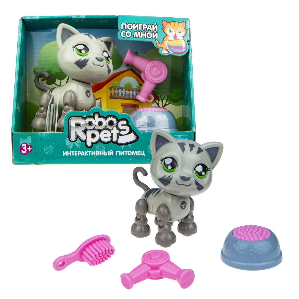 1 toy, игрушка со звук.эффектами Милашка котенок серый, 3 бат LR44 в компл.