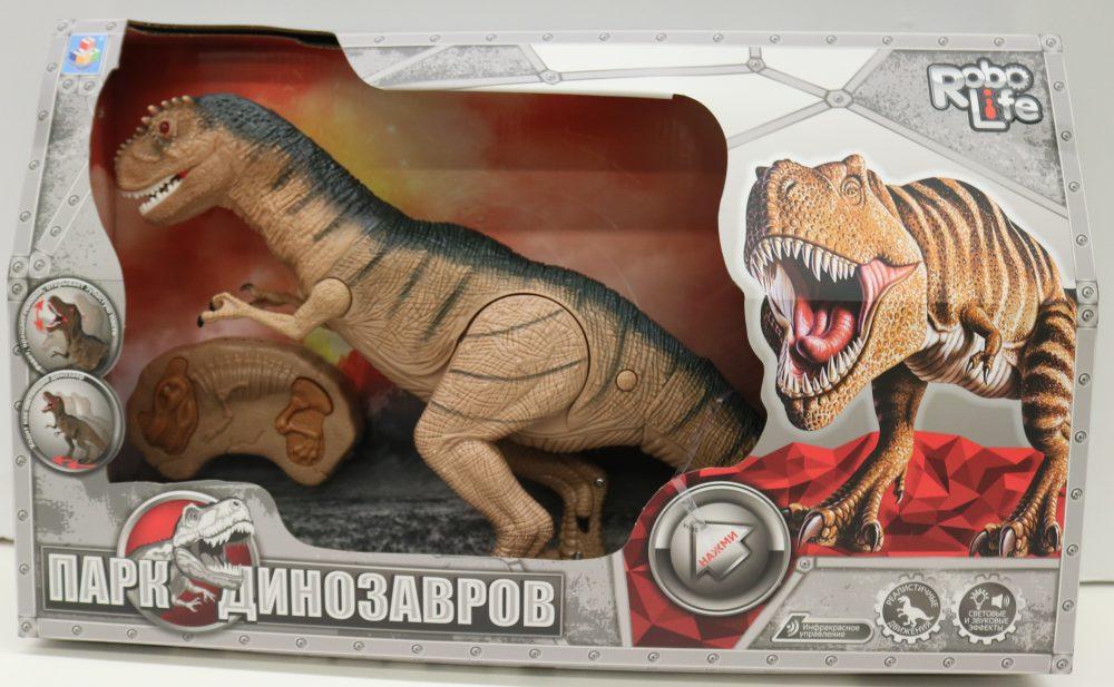 1toy, игрушка интеракт Динозавр Ругопс (3*АА входят),ИК пульт (3*АА не входят),голова из мягк ПВХ,свет,звук,коробка 51х30х12см