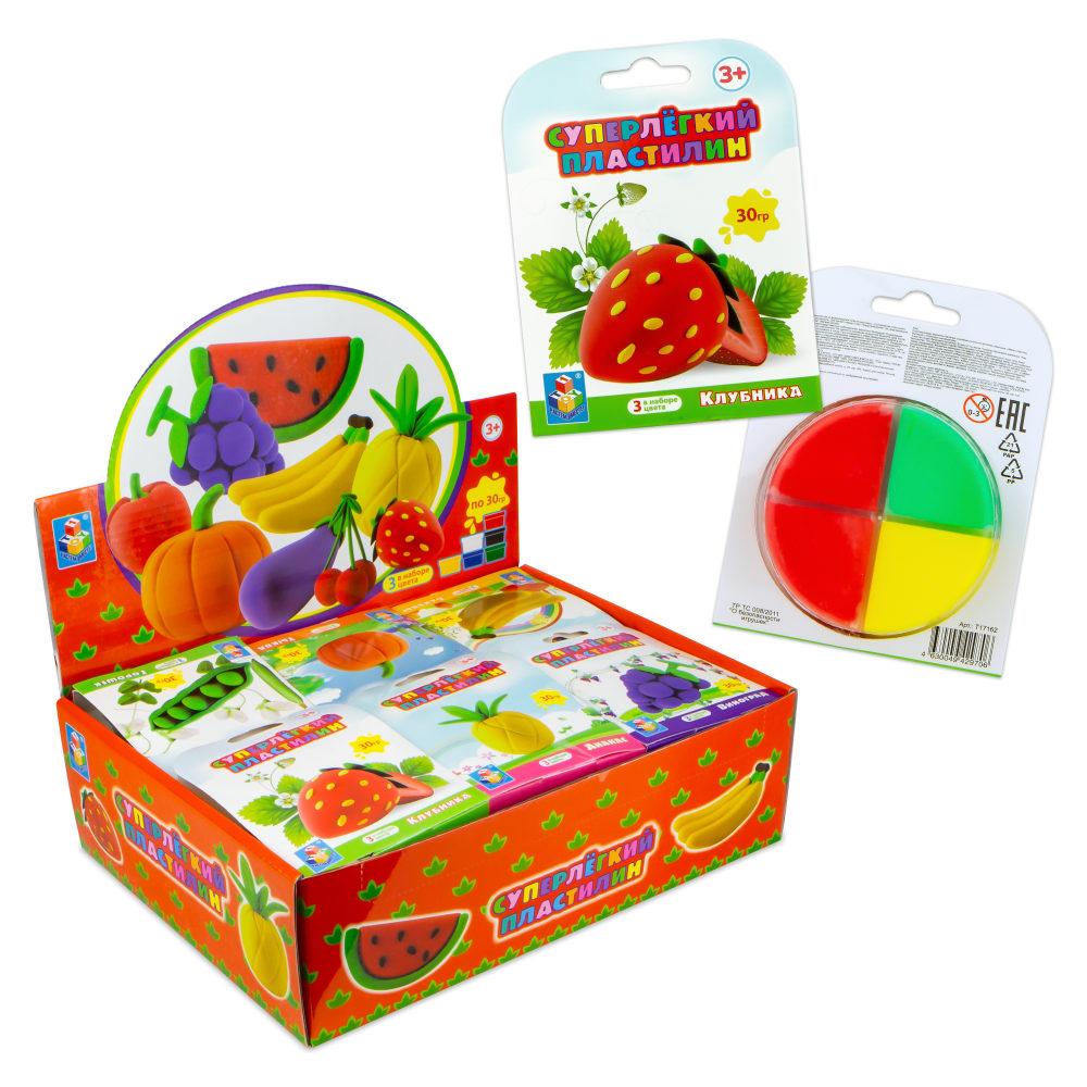 Суперлёгкий пластилин Фрукты, овощи и ягоды 30 гр, 3 цвета, 11 видов в д/б