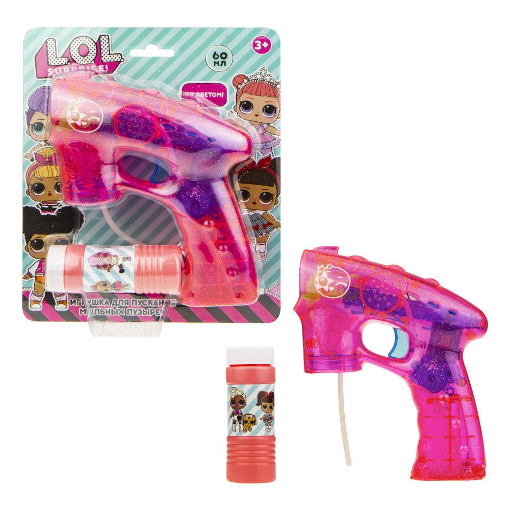 1toy LOL, мыл. пистолет (прозрачн с блестками), световые эффекты , бут. 60 мл, блистер