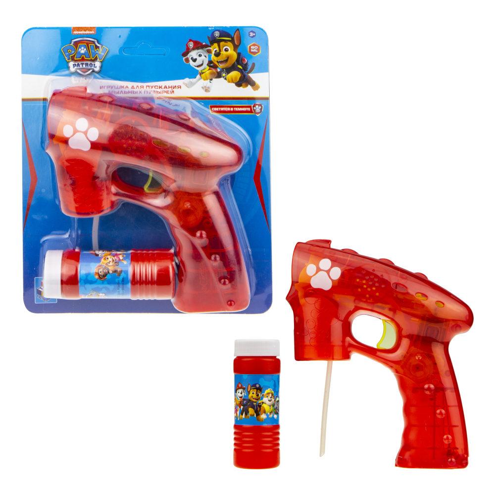 1toy Щенячий патруль, мыл. пистолет (прозрачный), световые эффекты , бут. 60 мл, блистер