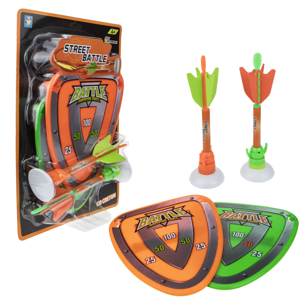 1toy Street Battle игр набор (в компл. 2 стрелы метательные с присоской и 2 щита-мишени, см, блистер)