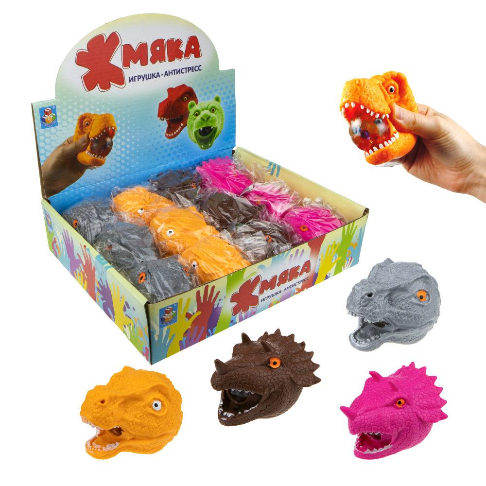 1toy  Жмяка голова динозавров и рептилий с шариками, 7,5см, 6 видов, 12шт в д/б