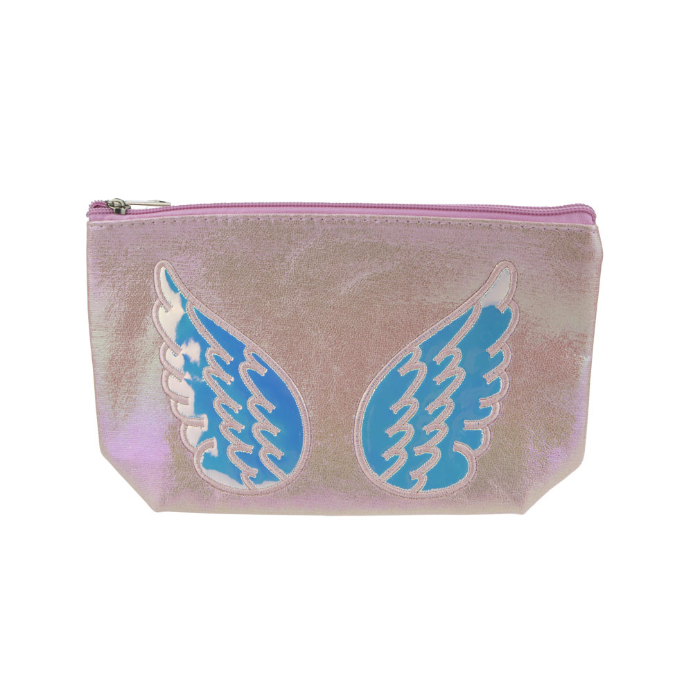 Lukky косметичка нежно-розовая, эффект под кожу с апплик.Ангел,22х13 см,бирка,пакет