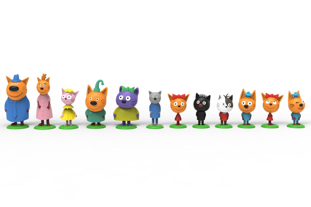 1toy Три кота игрушки пласт. фигурки на подставке 12 видов 4-6,5 см, слепой пакетик, 24 шт/д-бокс + картонный пазл на 9 деталей