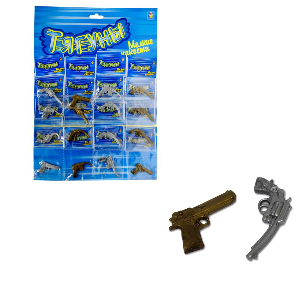 1toy Тягуны пистолет 4 см, 3 вида, 16 ОРР пакетов на блистере