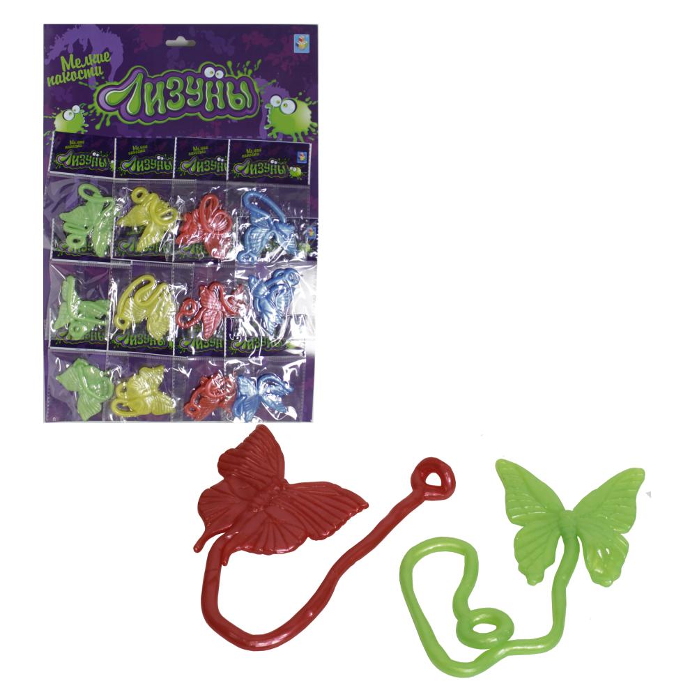 1toy Мелкие пакости Лизуны бабочка 21см, 3 цвета, 12 шт. на блистере