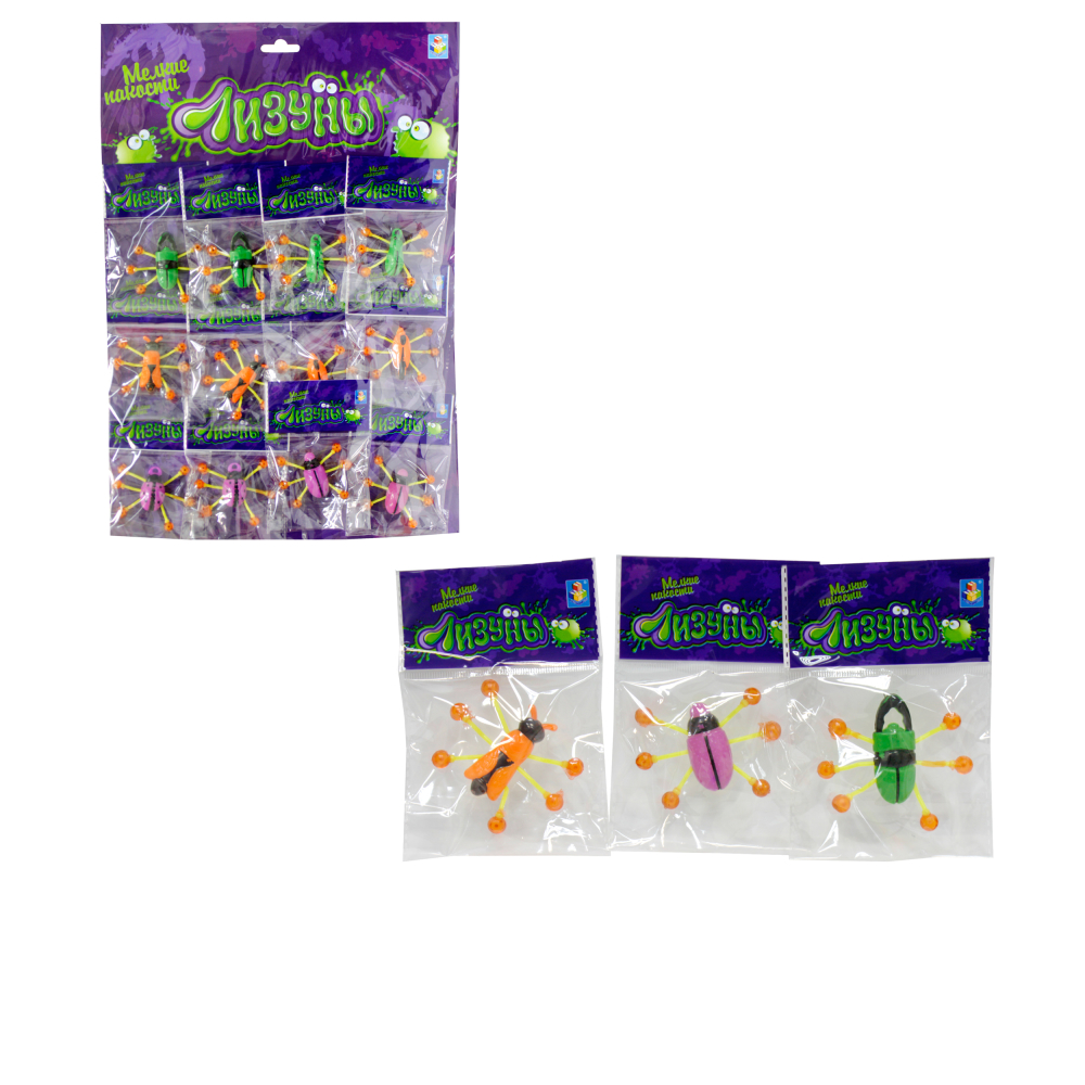 1toy Мелкие пакости Лизуны жуки 6,5 см, 12 ОРР пакетов.на блистере