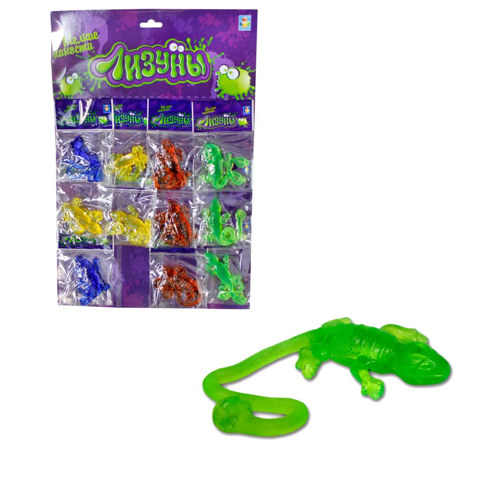 1toy Мелкие пакости Лизуны ящерица, 22 см, 4 цвета, 12 ОРР пакетов на блистере