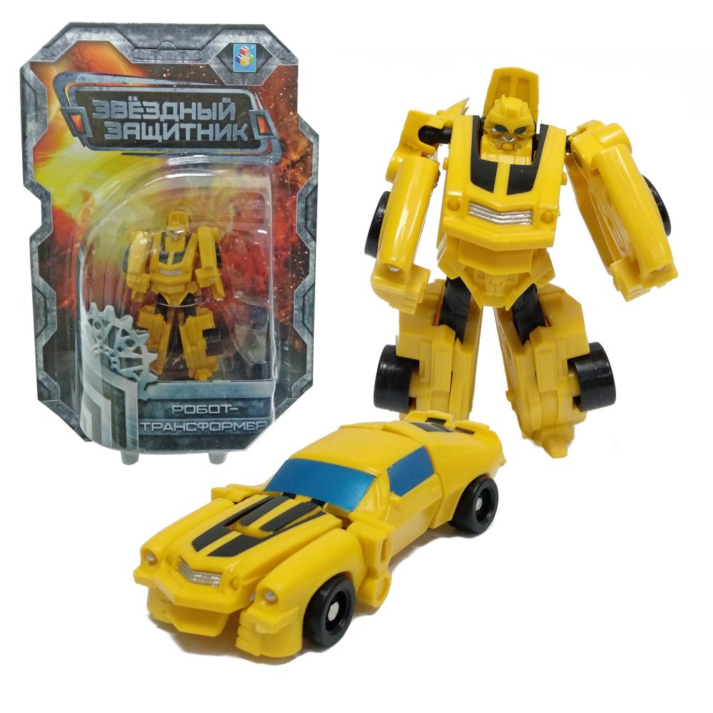 1toy Звёздный защитник, робот-трансформер 9 см, собирается в спорт,автомобиль, блистер