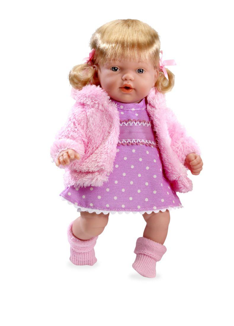 Arias ELEGANCE мягк.-винил.кукла 28 см с функц.смех,с соской,в вязаной курточке,платье нежная роза