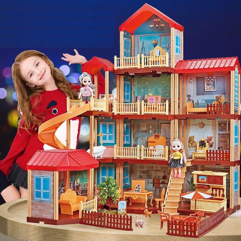 668-21A Дом вилла для кукол с мебелью, светом и куклами, 324 детали Princess House