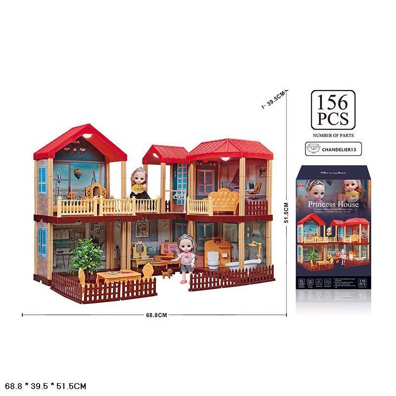 668-25A Дом вилла для кукол с мебелью, светом и куклами, 156 деталей Princess House