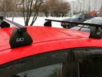 Багажник на крышу Hyundai Solaris хэтчбек, Евродеталь, стальные прямоугольные дуги
