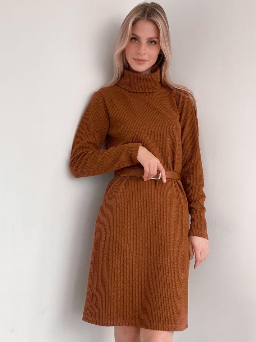 s2987 Платье-свитер из мягкого трикотажа в цвете camel