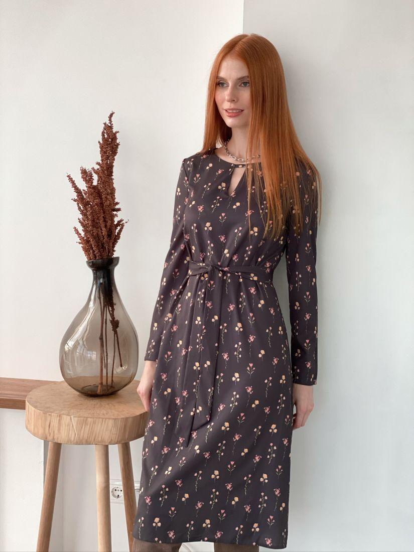 s2993 Платье с фигурной горловиной чёрное с принтом