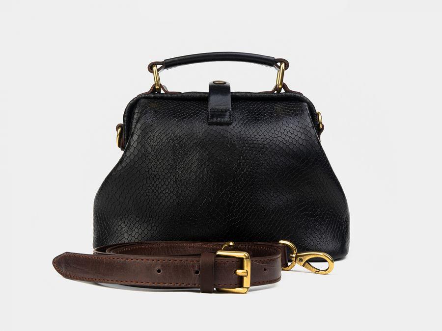 """Женская сумка-саквояж из натуральной кожи Alexander-TS """"W0013 Black Brown Piton"""""""