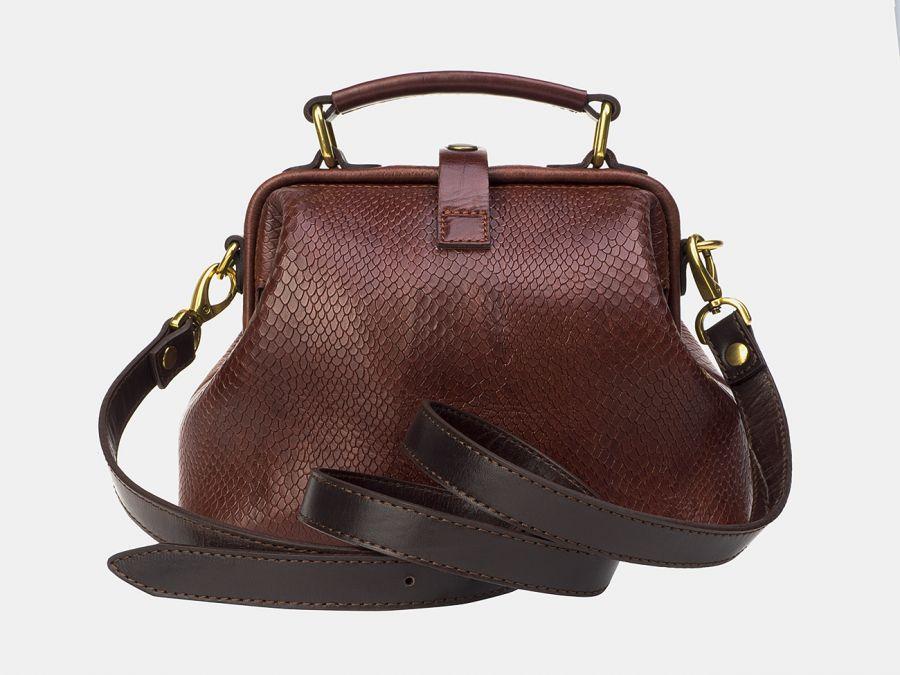 """Женская сумка-саквояж из натуральной кожи Alexander-TS """"W0013 Cognac Piton Brown"""""""