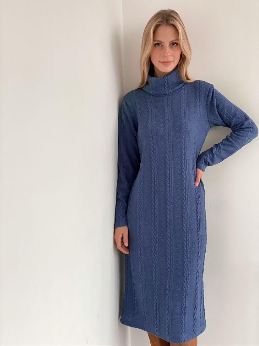 s2997 Платье-свитер трикотажное серо-голубое