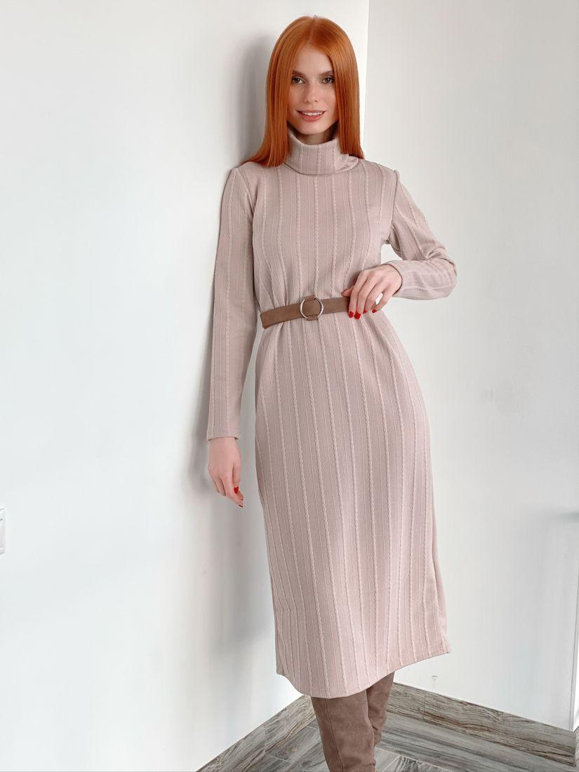"""s3001 Платье-свитер кремовое в длине """"миди"""""""
