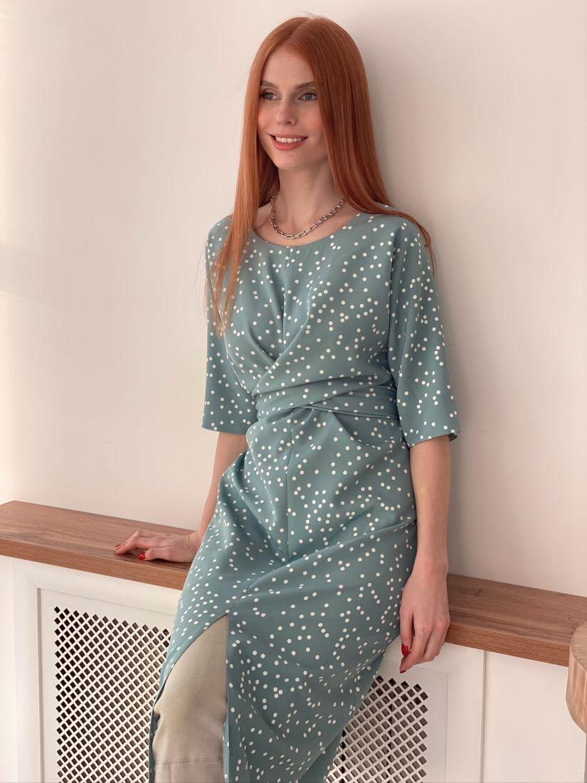 s3002 Платье с перекрутами в горох голубое